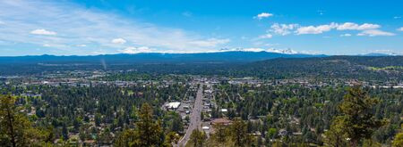 A panorama of Bend from Pilot Butte State Park Stock Photo