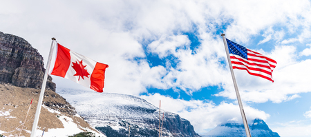 Flags at the Logan Pass Visitor Center in Glacier National Park