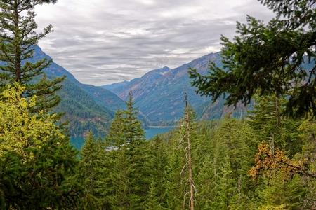 Diablo Lake trail in North Cascades National Park, Washington Stock Photo
