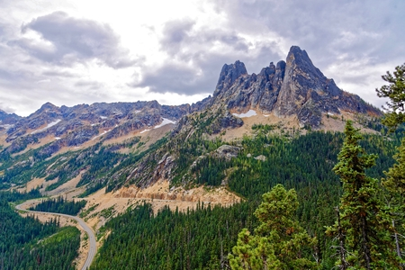 Liberty Bell Mountain and Early Winter Spires outside North Cascades National Park, Washington