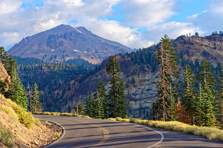 Lassen Volcanic National Park Highway with Bumpass Mountain in the background