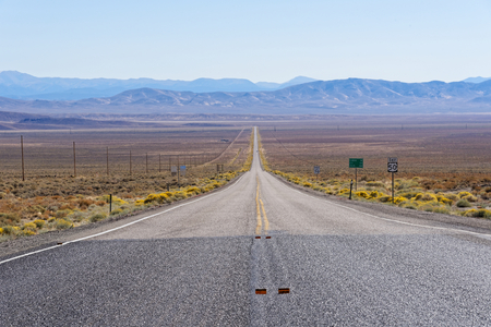 Vista of an endless stretch of road along US 50 Nevada Stock Photo