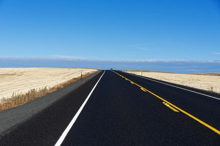 US Route 2 near Wilbur, Washington showing farmland in the Fall