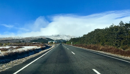 Alpine highway in Tongariro National Park, New Zealand