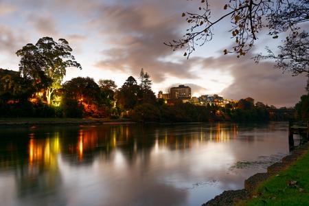 Hamilton CBD, New Zealand at dusk Stock Photo