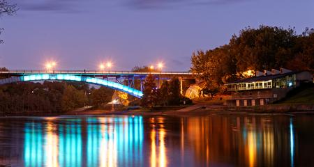 Anzac Parade Bridge in de schemering, Hamilton, Nieuw-Zeeland Stockfoto