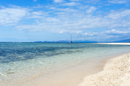 Small island off the coast of Fiji with a white sand beach 写真素材