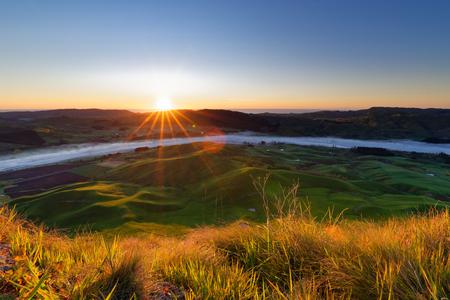 Dawn over Te Mata Peak, Hawkes Bay, New Zealand Stock Photo