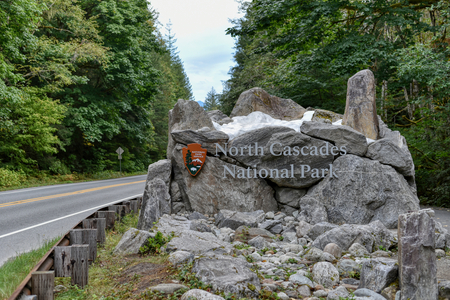 Entrance signpost for North Cascades National Park, Washington