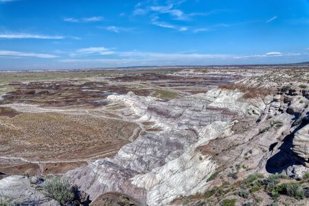 Vista of colorful badlands in Petrified Forest National Park, Arizona