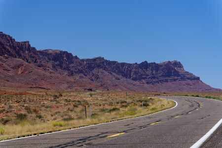 A typical Northern Arizona desert highway between Page and Marble Canyon