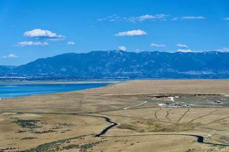Beautiful landscape on Antelope Island State Park, Utah