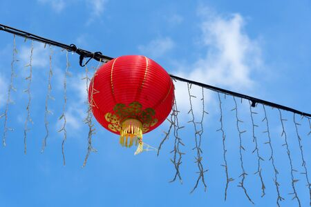 Traditional Chinese New Year lanterns hanging in Singapore