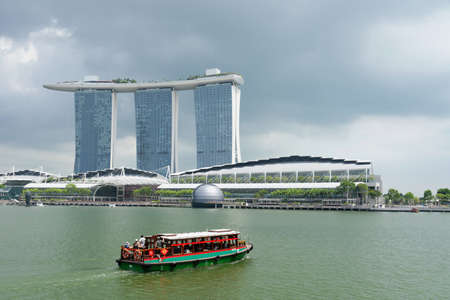 Vista of the Marina Bay tourist district in Singapore Editorial
