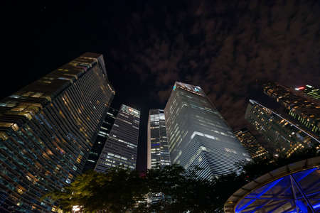 Skyscrapers in Singapore at night