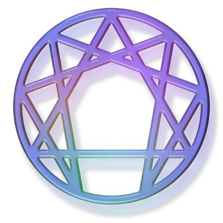 enneagram heilig symbool van de vierde wijze, 3D gel  aqua effect.