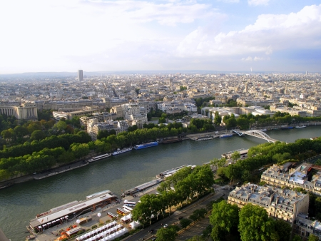 aerial city view of Paris from Eiffel Tower photo