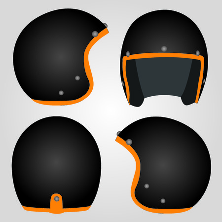 safety circle: Retro Motorcycle Helmet