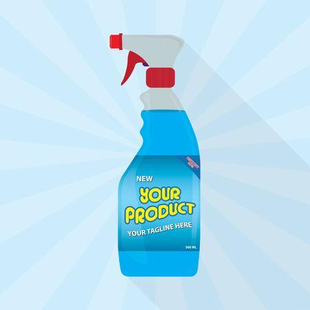 Spritzpistole Reiniger Kunststoff-Flasche mit blauer Flüssigkeit Weiß Transparent Vektorgrafik
