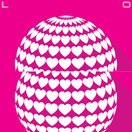 Stylish creative abstract background with pink and white 3d hearts Vector