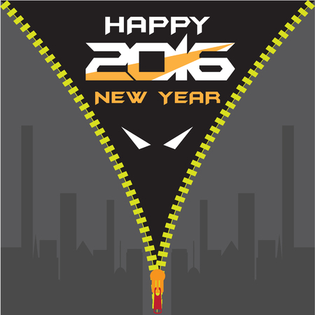 Batman Happy new year 2016 greeting card Vector