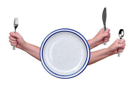 Fork,knife and spoon held by a womans hands isolated over white