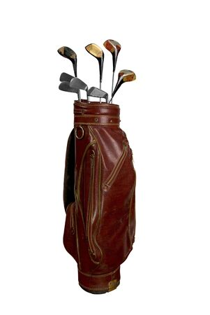golf bag: Vintage worn clubs in an old bag isolated over a white background Stock Photo