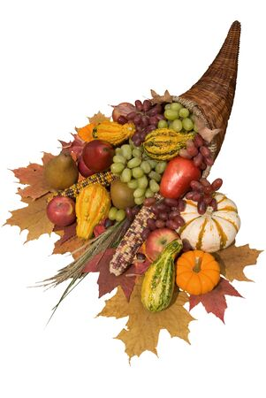 cuerno de la abundancia: Cornucopia llena de oto�o la cosecha de derramar su cuerno de la abundancia Foto de archivo
