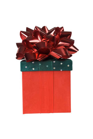 Gift wrapped in red and green material with colorful ribbons Stock Photo - 1991153
