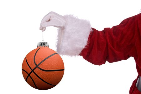 Santa Claus with basketball ornament in his white gloved hand