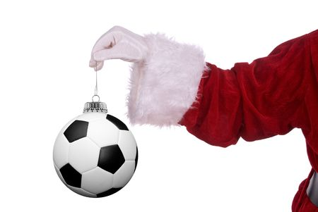 gloved: Santa Claus with soccer ball ornament in his white gloved hand