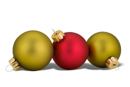 Red and green Christmas balls and shadow isolated over white