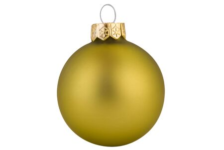 Green Christmas ball with gold top isolated over white
