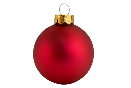 gold top: Red Christmas ball with gold top isolated over white