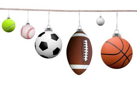 Sport balls hanging on a clothesline isolated on white Stock Photo