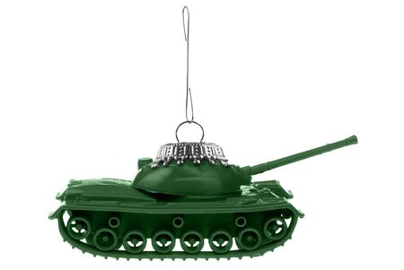 Army tank ornament isolated over a  white background photo