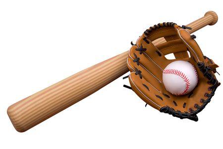 baseball glove: Bate de b�isbol, pelota y guante blanco m�s aisladas