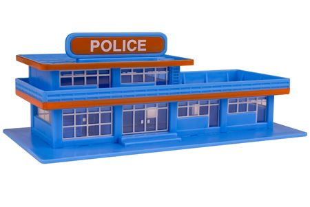 police station: toy Police Station in the color of blue isolated over a white background Stock Photo