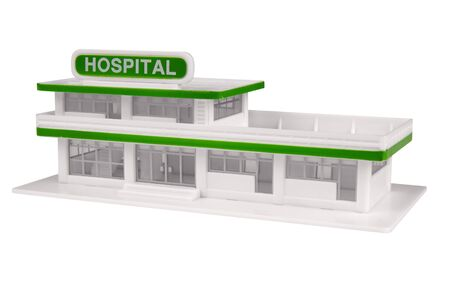 toy Hospital in the color of white isolated over a white background