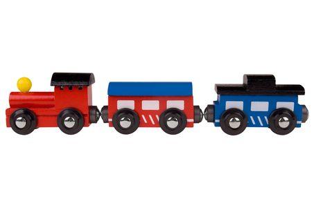 wood railroads: Colorful train toy  Stock Photo
