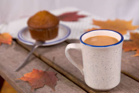 Cup of Coffee and a bran muffin on a picnic table with fall leaves
