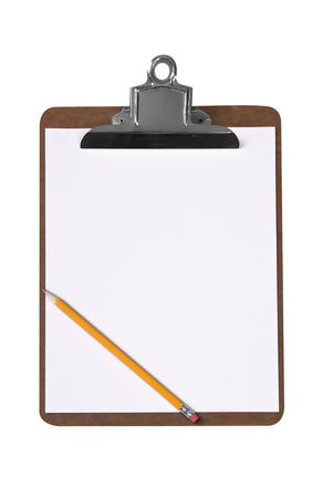 Clip board with pencil and blank paper