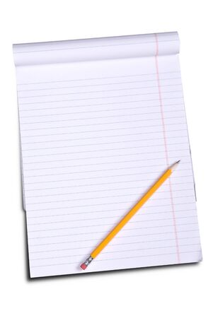 college ruled: White lined legal notepad and a pencil