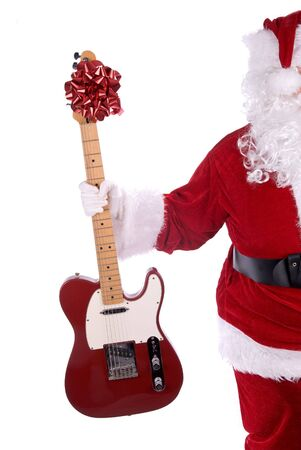 Santa Claus holding a red guitar electric guitar isolated over white
