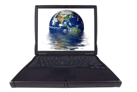 laptop computer with globe photo