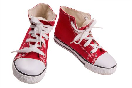 Red classic sneakers  Stock Photo