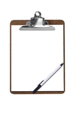 Clip board with blank paper and pen  Stock fotó