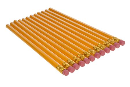Pencils with erasers isolated over white photo