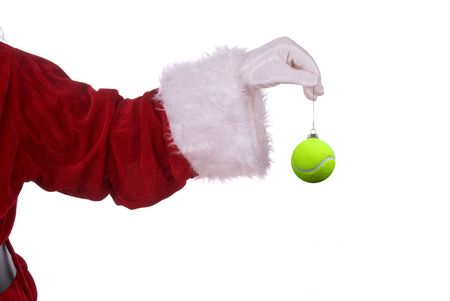 Santa Claus with tennis ball ornament in his white gloved hand