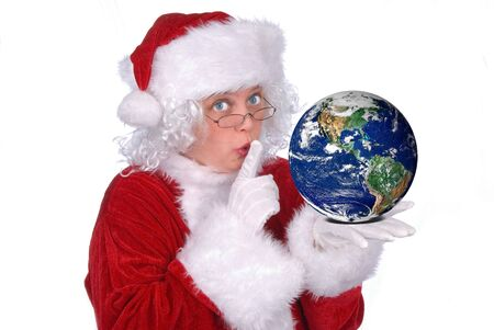 Mrs. Claus with Earth in her hand isolated over white Imagens